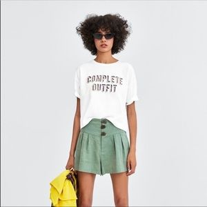 Zara Cropped Textured Lettering Tee M